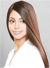 Stunning Long Straight Brown No Bang African American Lace Wigs for