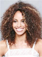 Shining Medium Curly Brown No Bang African American Lace Wigs for