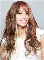 Outstanding Long Wavy Brown Side Bang African American Wigs for Women