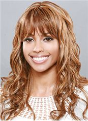 Chic Long Wavy Blonde Full Bang African American Wigs for Women 20