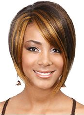 Affordable Short Straight Brown Side Bang African American Lace Wigs