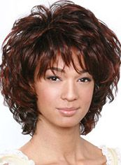 Cheap Colored Short Wavy Brown Side Bang African American Wigs for