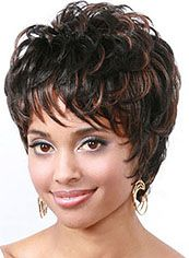 Best Short Wavy Sepia Side Bang African American Wigs for Women 10