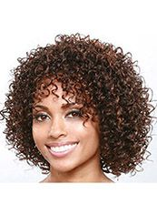 Newest Short Curly Brown Side Bang African American Wigs for Women 12 Inch