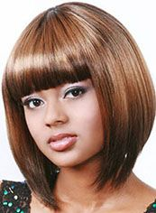 Discount Short Straight Blonde Full Bang African American Wigs for Women 12 Inch