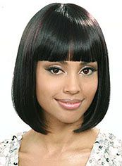 Wig Online Short Straight Black Full Bang African American Wigs for