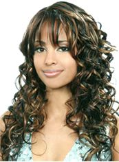 Online Wigs Long Wavy Sepia Side Bang African American Wigs for Women 20 Inch
