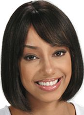 Quality Wigs Short Straight Black Side Bang African American Wigs for Women 12 Inch