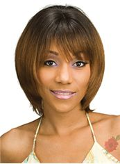 Hand Knitted Short Straight Brown Full Bang African American Wigs for