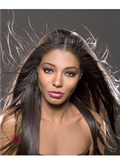 New Fashion Long Straight Brown No Bang African American Lace Wigs