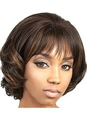 Beautiful Short Wavy Brown Full Bang African American Wigs for Women