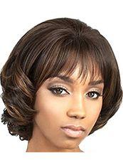 Beautiful Short Wavy Brown Full Bang African American Wigs for Women