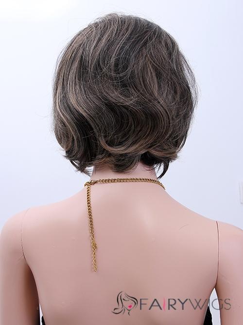 Beautiful Short Wavy Brown Full Bang African American Wigs for Women 12 Inch
