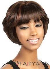 New Short Wavy Brown Full Bang African American Wigs for Women 10 Inch