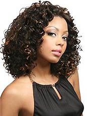New Glamourous Medium Curly Sepia No Bang African American Lace Wigs