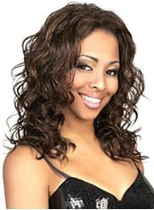 Perfect Medium Wavy Brown No Bang African American Lace Wigs for