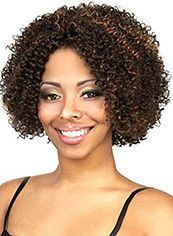 Noble Short Curly Brown No Bang African American Lace Wigs for Women