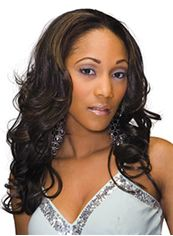 The Fresh Long Wavy Sepia No Bang African American Lace Wigs for Women 20 Inch