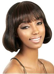 Impressive Short Wavy Sepia Full Bang African American Wigs for Women