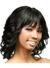 New Impressive Medium Wavy Black Full Bang African American Wigs for