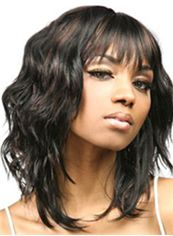 Super Smooth Medium Wavy Black Full Bang African American Wigs for