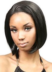 Marvelous Short Wavy Black No Bang African American Lace Wigs for