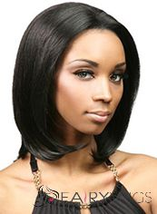 Sparkle Medium Wavy Black No Bang African American Lace Wigs for Women 14 Inch