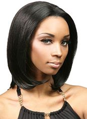 Sparkle Medium Wavy Black No Bang African American Lace Wigs for
