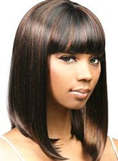 Top-rated Medium Straight Sepia Full Bang African American Wigs for