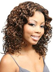 Glitter Medium Curly Brown No Bang African American Lace Wigs for