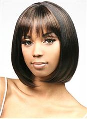 Sweety Short Straight Sepia Full Bang African American Wigs for Women 12 Inch