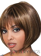 Ancient Short Straight Brown Full Bang African American Wigs for Women 10 Inch
