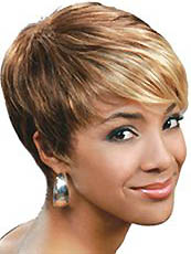 New Style Short Straight Blonde Full Bang African American Wigs for Women 8 Inch