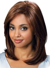 Online Medium Wavy Brown No Bang African American Lace Wigs for Women