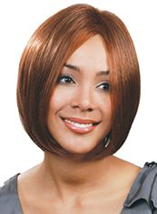 Dream Short Straight Brown No Bang African American Lace Wigs for