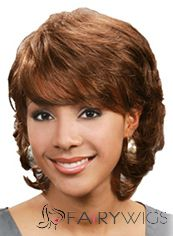 Personalized Short Wavy Brown Full Bang African American Wigs for Women 12 Inch