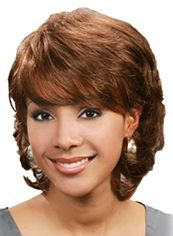 Personalized Short Wavy Brown Full Bang African American Wigs for