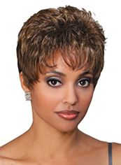 Lovely Short Wavy Brown Side Bang African American Wigs for Women 8