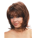 Sexy Short Wavy Brown Full Bang African American Wigs for Women 12 Inch