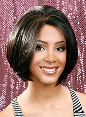 Shinning Short Wavy Black No Bang African American Lace Wigs for