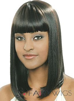 Fabulous Medium Straight Black Full Bang African American Wigs for Women 16 Inch