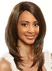Simple Medium Wavy Brown No Bang African American Lace Wigs for Women