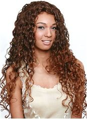 Cute Long Curly Brown No Bang African American Lace Wigs for Women 22 Inch