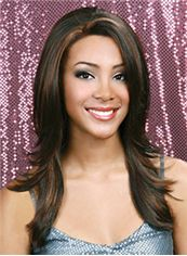 Fashion Medium Wavy Brown No Bang African American Lace Wigs for
