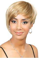 Hot Short Straight Blonde Side Bang African American Wigs for Women