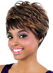 Mysterious Short Wavy Brown Full Bang African American Wigs for Women