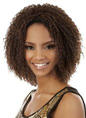 Adjustable Short Curly Brown No Bang African American Lace Wigs for