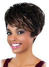 Multi-function Short Wavy Sepia Side Bang African American Wigs for