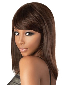 Ingenious Medium Straight Brown Full Bang African American Wigs for Women 14 Inch