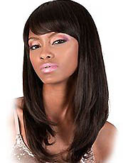 Unique Medium Straight Black Full Bang African American Wigs for Women 18 Inch